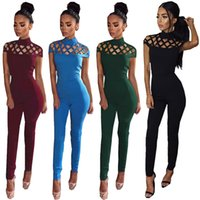 Wholesale European Sexy New Women Clothes - Wholesale- New Summer Women Sexy Bodysuit Jumpsuits European Style Club Fashion Hollow Out Solid Zipper Rompers Vestido De Festa Clothing