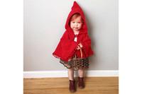 Wholesale Child Cape Princess - INS Children shawl autumn winter new baby girls red poncho kids pompon tassel hooded cape children princess outwear A00050