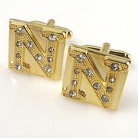 "Wholesale Initial Cufflinks Wholesale - Gold Initial letters Alphabet cufflinks ""N"" Design Copper Crystal Cuff links For Men Birthday Wedding Gift Cuff HD0335"