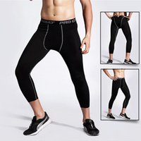 Wholesale Men s Sports Base Layer Pants Training Fitness Perspiration Quick drying Stretch Pants Capri Pants