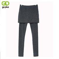 Wholesale False Knit - Wholesale- GOPLUS Spring Gray Black Crystal Rhinestone Slim Legging Super Elastic 2017 New Fashion Women False Two Pieces Skirt Leggings