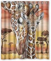 giraffe fabrics Canada - Cute Giraffes Design Shower Curtain Size 150 x 180 cm Custom Waterproof Polyester Fabric Bath Shower Curtains