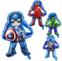 Wholesale Captains Coat - Aluminium film balloon green giant super hero Captain America foil balloons Iron man decorates the balloon GC56