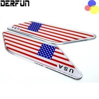 Wholesale United Fiber - 2x United States USA American Flag For Cadillac Chevrolet Ford Buick JEEP Front Fender Wing Emblem Badge Decals Sticker