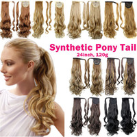 Wholesale 24 Inch Wavy Hair Synthetic - Clip Ponytails Synthetic Hair Ponytail Culry Wavy Hair pieces 24inch 120g Synthetic Hair Extensions Women Fashion