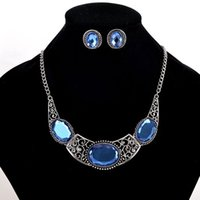 Wholesale Blue Silver Gemstone Earrings - 2017 Oval Blue Gemstone Earrings Necklace Sets Women Vintage Alloy Pendant Short Necklace Antic Silver Plated Necklaces Stud 5PCS