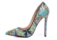 Wholesale Python Heels - Free shipping fashion Women Green print python leather point toe high heels pumps genuine leather 120mm thin heel brand new genuine leather