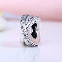Wholesale x shaped jewelry resale online - 100 Real Sterling Silver Not Plated Luxury X Shape CZ Charms European Charms Beads Fit Pandora Bracelet DIY Jewelry