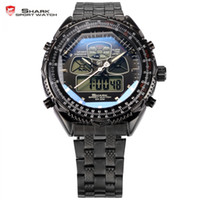 Vente en gros - Eightgill SHARK Sport Watch Noir Dual Time Digital LCD Date Day Chronomètre Alarme Stainless Steel Band Quartz Mens Watch / SH305