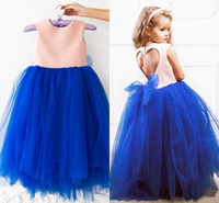 Wholesale Cute Prom Dresses For Juniors - Cute Bow Tulle Princess Gown For Little Girls Keyhole Back Jewel Neckline Prom Pageant Dresses Floor Length Junior Bridesmaid Dress