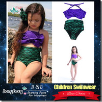 Wholesale High Quality Swimwear Wholesale - Children Girl Lovely Mermaid Swimsuit Two-Piece Baby Kids Swimwear Bikinis Beach Swimming Pool Wear High Quality DHL Free Shipping