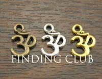 Wholesale Aum Pendant - Wholesale-Free Shipping! 50 pcs Metal Alloy OM Aum Ohm Mantra Sign Charm Pendant 15x10mm Fit Jewelry Making