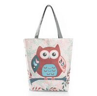 Wholesale Wholesale Used Women Bags - Floral And Owl Printed Canvas Tote Female Casual Beach Bags Large Capacity Women Single Shopping Bag Daily Use Canvas Handbags