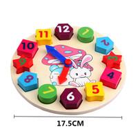 Wholesale Baby Girls Clock - Models Building Blocks Wooden Blocks toys Digital Geometry Clock Toy Children's Montessori Educational Toy For Baby Boy Girl Gift
