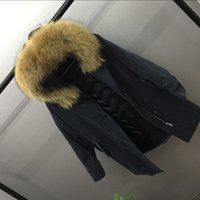 Wholesale Corduroy Coat Ladies - Real Raccoon Fur Coat Women Ladies Duck Down Jacket Winter Parkas Hooded Super Warm Thick Outwear Tops Snow Clothes New Fashion