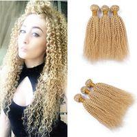 bakire kıvırcık afro örgü toptan satış-Perulu Sarışın Afro Kinky Kıvırcık Bakire Saç 3 Demetleri Çok Saf Renk # 613 Bleach Sarışın İnsan Saç Dokuma 9A Sarışın Saç Uzantıları