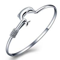 noble joyería de moda 925 al por mayor-20 unids / lote regalo caliente precio de fábrica 925 de plata del encanto del brazalete de malla fina fina pulsera de delfines de joyería de moda