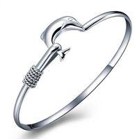 Wholesale 925 Mesh Bangle - 20pcs lot hot gift factory price 925 silver charm bangle Fine Noble mesh Dolphin bracelet fashion jewelry