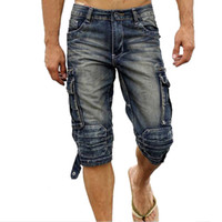 Wholesale Jean Capris For Men - Wholesale-Fashion Mens Biker Denim Cargo Shorts Multi Pockets Faded Jean Shorts For Man Calf-Length Motorcycle Short Joggers Plus Size 40