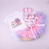 Wholesale Wholesale Long Pettiskirt - baby girl infant toddler 4piece outfits Minnie cupcake romper onesies + lace skirt satin skirt pettiskirt + headband + shoes princess 3sets