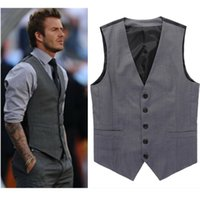 Wholesale Grey Blazers For Men - Wholesale- Grey Slim Fit Dress Vests For Men David Beckham Formal Mens Suit Vests Wedding Sleeveless Jacket Blazer Chaleco Hombre