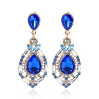 Wholesale Cheap Star Pendants - 2017 Cheap Wedding Accessories Fashion Rhinestone Jewelry Diamond Bridal Earrings In Stock Free Shipping Green Blue