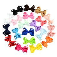 Wholesale Girls Small Hair Bows - 2.4 Inch Boutique Small Bows with Clips Baby Girls Hair Clips Solid Color Ribbon Bow Knot Barrettes Childrens Hairpins Hair Accessories