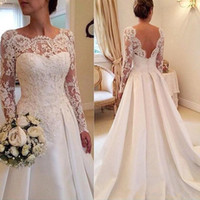 Wholesale Plus Size Bridal Jewelry - 2017 Elegant Jewelry Neck Long Sleeves Lace Applique Wedding Dress Bodice Court Train Open Back Sexy Bridal Gowns vestido de noiva curto