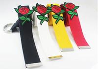 Wholesale Double Rose Belt - New length:130cm Rose embroidery canvas Belts women wide belt 2017 personality Flowers double loop canvas belt paski damskie aa215