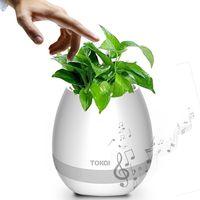 Wholesale Decorative Music Light - Smart rechargeable Bluetooth Music Speaker floor decorative flower vase With Light Touch Plant Flower Pots Vase Decor with LED bulb speaker
