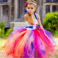 Wholesale Long Rainbow Color Skirts - 2017 New Colorful Rainbow Girls Pageant Gowns Princess Long Skirts Tutu Ball Gowns Flower Girls Dresses FG03