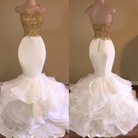 Wholesale African Dresses For Sale - 2016 Sale Sexy Mermaid White and Gold Prom Dresses Spaghetti Strap Lace Ruffles Backless Long African Prom Dress for Gradustion Organza