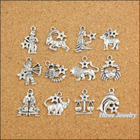 ingrosso segni zodiacali d'epoca-All'ingrosso- 120 pezzi Vintage Charms Zodiac dodici costellazioni firmano Ciondolo argento antico Fit Bracciali collana fai da te gioielli in metallo Making