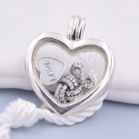 Wholesale Infinite Chain - 925 Sterling Silver Necklace Infinite Love Petites Memories Floating Heart Locket Necklace For Women Wedding Gift Jewelry