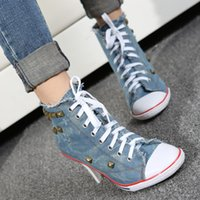 Wholesale Denim Heels For Women - New Spring 2017 single shoes, leisure white denim high heels for canvas shoes rivets shoes sneakers personality