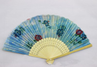 Wholesale Fashion Craft Supplies - Folding Fans Fashion Flower Printing Hand Design Bamboo Folding Fans Festival Events Supplies Wedding Gifts Favors Arts Crafts
