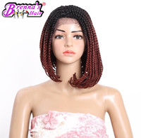 """Wholesale Burgundy Bob Wig - 14""""inch Front Lace Front Bob Synthetic Wigs Ombre 1b burgundy Colors Box BraidS Pre-braided Short Bob Heat Resistant Hair Wigs"""