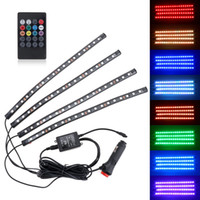 Wholesale Led Interior Neon - 5050 18smd 8 Colors RGB Music Control Car Interior Decoration Lamp LED Automobile Chassis Lights Bar Neon Strip with Remote CLT_20V