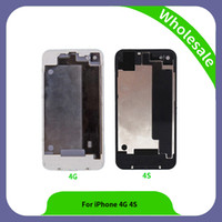 4s caixa de bateria de vidro traseira venda por atacado-Peças de reparo de montagem de alta qualidade vidro traseiro para o iphone 4 4s tampa traseira da bateria do telefone móvel habitação para iphone 4g 4s