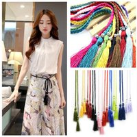 Wholesale Bowknot Belt Skirt - 2017 New Women belt braided tassel belt Korean bowknot rope skirt decorative belt 27 colors choose CA212