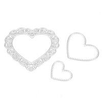 Wholesale Heart Die Cut - 3pcs set Cutting Dies Love Heart Metal Cutting Dies Stencils Set For DIY Scrapbooking Photo Album Embossing Decorative Craft