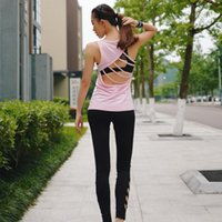 Wholesale Pink Tape - The new cross-border quick-drying stretch of five tape hollow beauty back fitness exercise vest yoga vest female