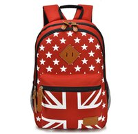 Wholesale Women American Flag Canvas Backpack - New Arrival 2017 American Flag School Backpacks Boy and Girl Fashion Bags Preppy Style Canvas Backpack