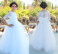 Wholesale Bow Knot Dress For Girls - 2017 Princess White Lace Flower Girls Dresses with Bow Knot Tulle Half Long Sleeves First Communion Pageant Gowns Girl Dress For Weddings