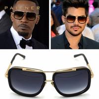 Wholesale Tops Star Designs - Flat Top Hot Square Sunglasses Men Women Luxury Brand Design titanium sunglasses Sun Glasses Super star Eyewear square frame UV400 lens