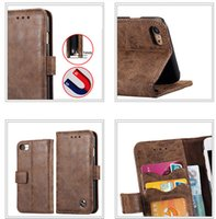 Wholesale Iphone Real Leather Pouch - Iphone 6 Wallet Case Retro Genuine Leather Flip Cover For IPhone 7 Plus 6 6S  Real Stand Holder Card Slot Pouch Hard PC Fashion Skin Plastic