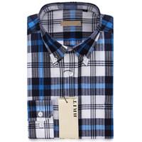 Wholesale Men Button Down Shirts Wholesale - Wholesale- Men Plaid Shirt Boutique Clothing Button-Down Collar Long Sleeve Cotton Shirt 2016 Hot Sale camisas Size M~2XL