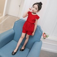 Wholesale Korean Fashion Wear For Summer - 2017 girls' summer dresses in south Korean lace children's wear sets of fashion short sleeves and short sleeves shorts for wholesale