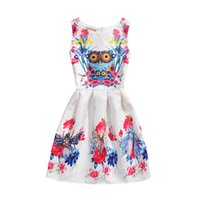 Wholesale Dresses Print Owl - Mother and dauther clothes Girls owl printed lace jacquard sleeveless princess dress 2017 new womens flowers dress family clothes T2591