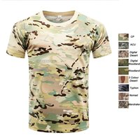 Wholesale woodland uniform online - Outdoor Woodland Hunting Shooting Shirt Battle Dress Uniform Tactical BDU Army Combat Clothing Quick Dry Camouflage T Shirt SO05